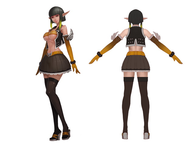 Elf Girl Mage 3d rendering