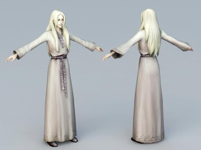 Medieval Lady 3d rendering