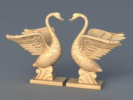 Swan Garden Statue 3d preview