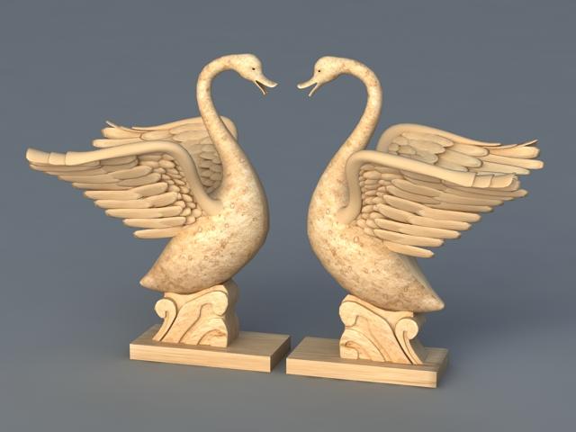 Swan Garden Statue 3d rendering