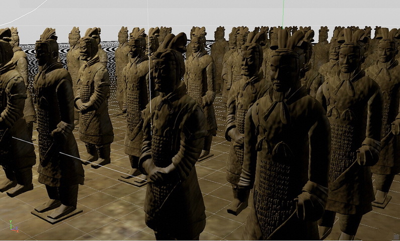 Chinese Terracotta Army 3d rendering