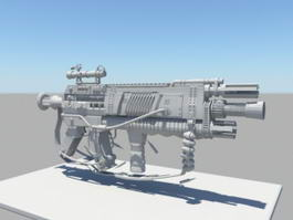 Sci Fi Sniper Rifle 3d model preview