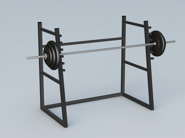 Gym Barbell Weight Rack 3d rendering