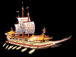Medieval Chinese Ship 3d model preview