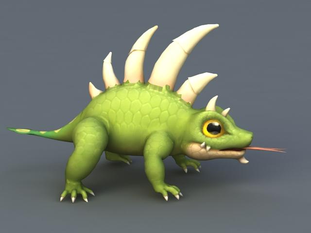 Anime Chameleon 3d rendering