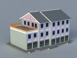 Old Chinese Buildings 3d model preview