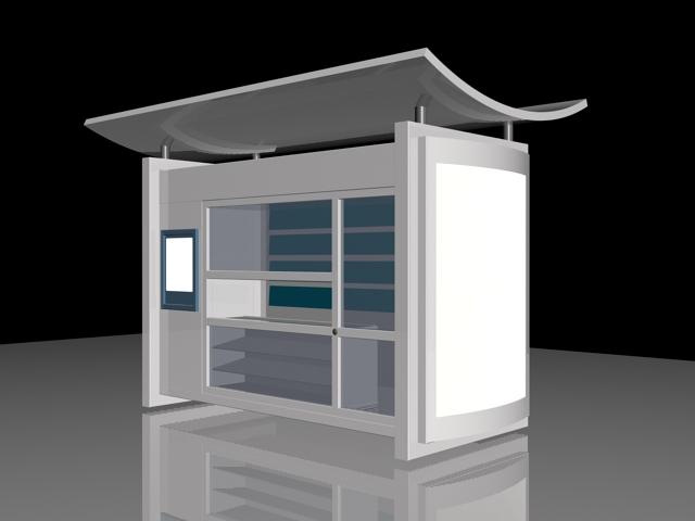Outdoor Kiosk 3d rendering