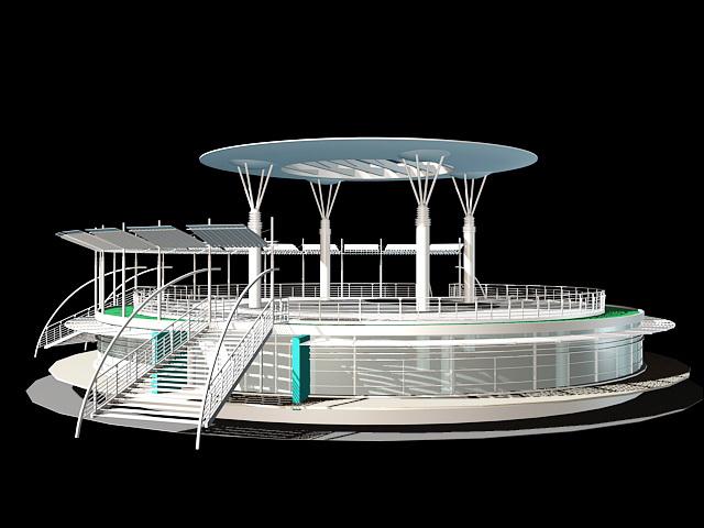 Modern Kiosk 3d rendering
