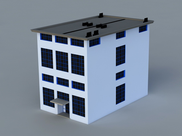 Small Office Building Exterior 3d rendering