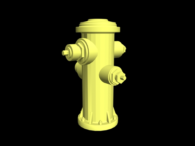 Yellow Hydrant 3d rendering