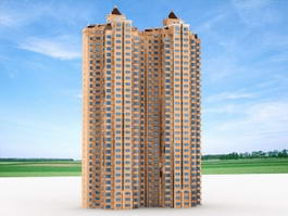 Tower Block Residential Building 3d preview