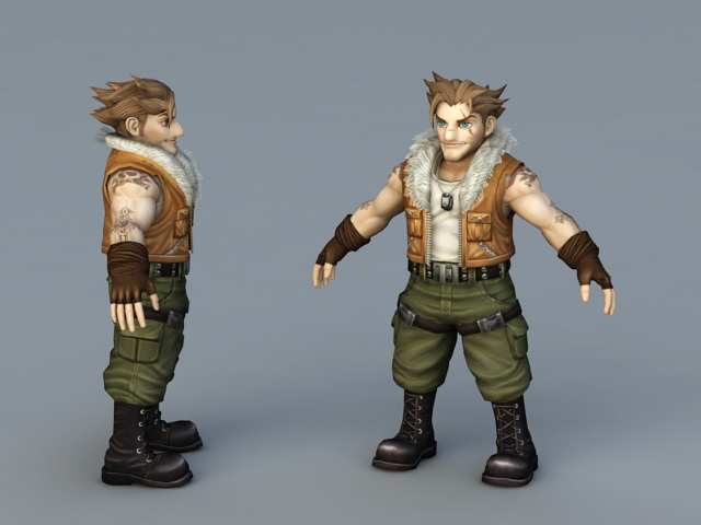 Anime Male Mercenary 3d rendering