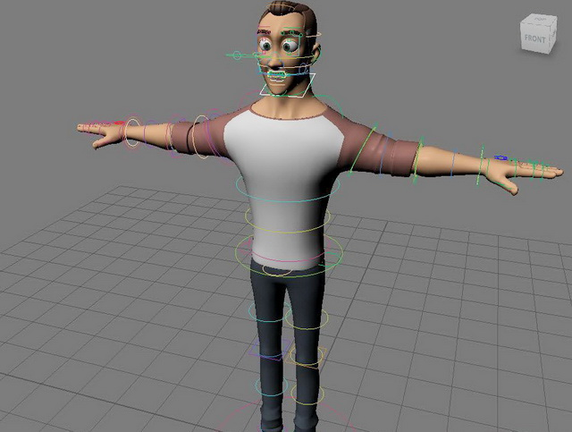 Cartoon Man Rig & Animated 3d rendering