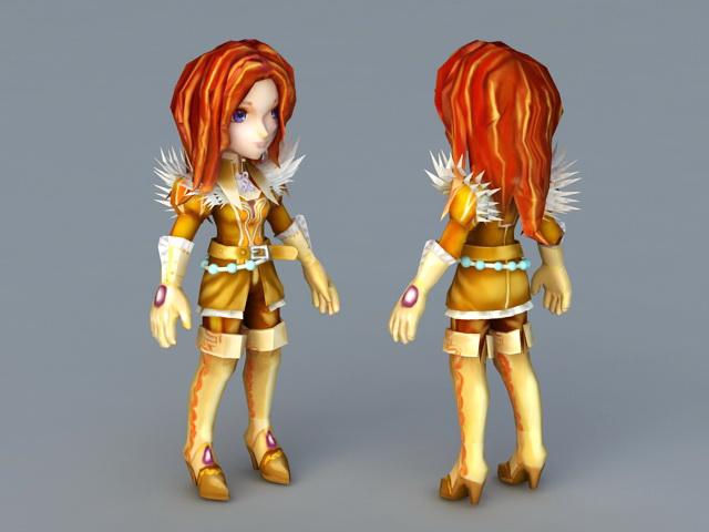 Anime Female Mercenary 3d rendering
