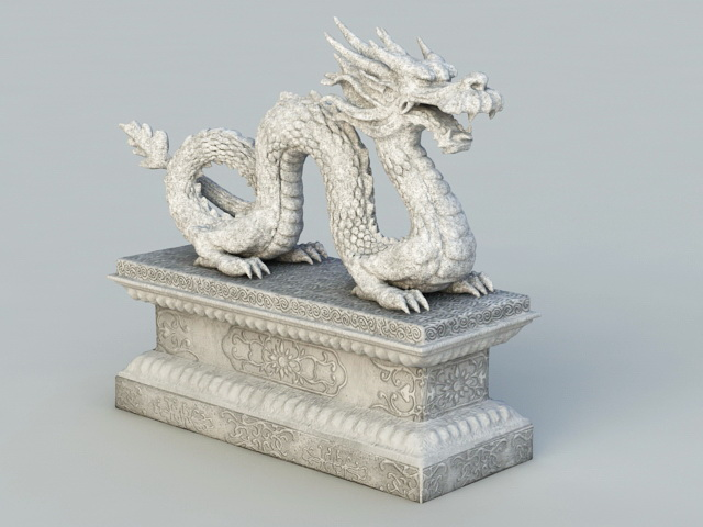 Ancient Chinese Dragon Statue 3d rendering