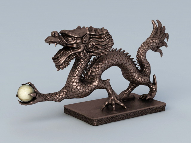 Ancient Chinese Dragon Sculpture 3d rendering