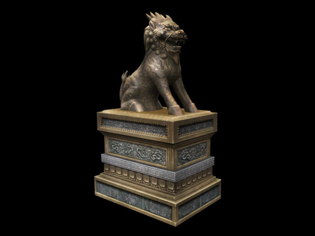 Chinese Guardian Lion Statue 3d rendering