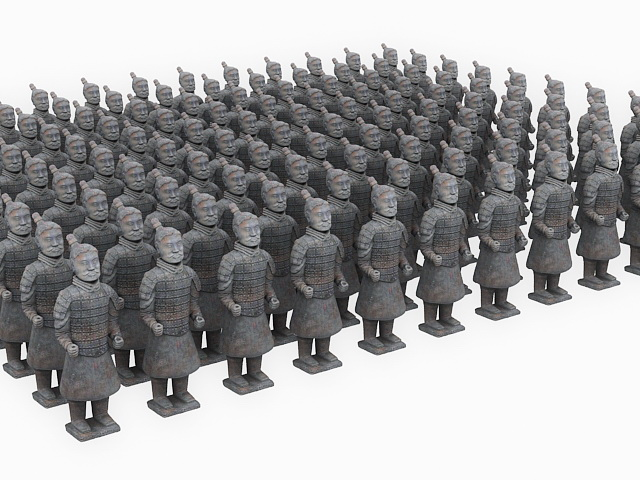 Qin Terracotta Army Soldiers 3d rendering
