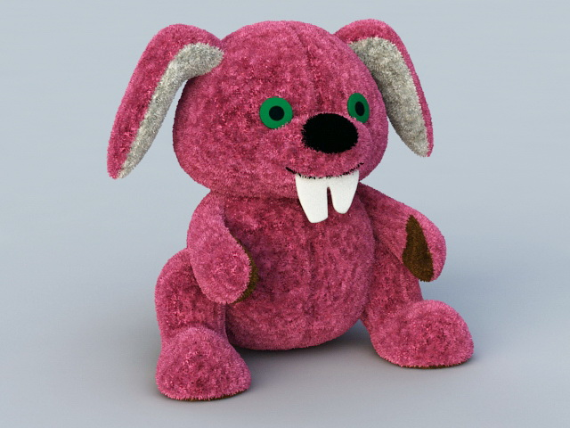 Stuffed Rabbit Plush Toy 3d rendering