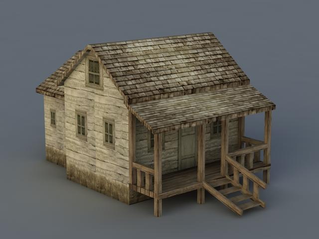 Old Wood House 3d rendering