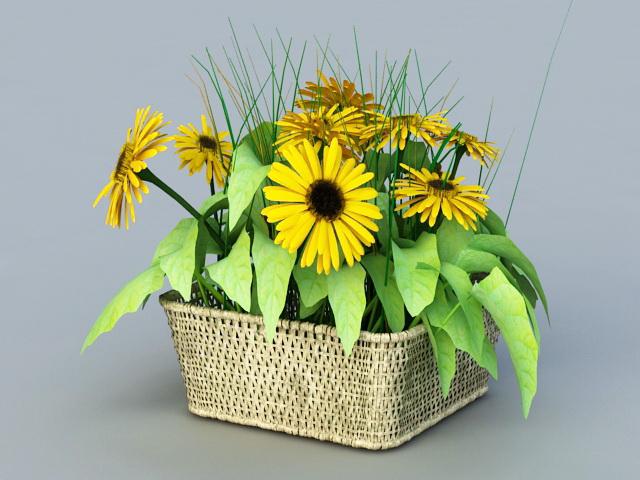 Sunflower Garden Planter 3d rendering