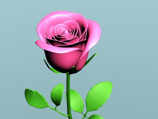 Pink Rose Branch 3d rendering