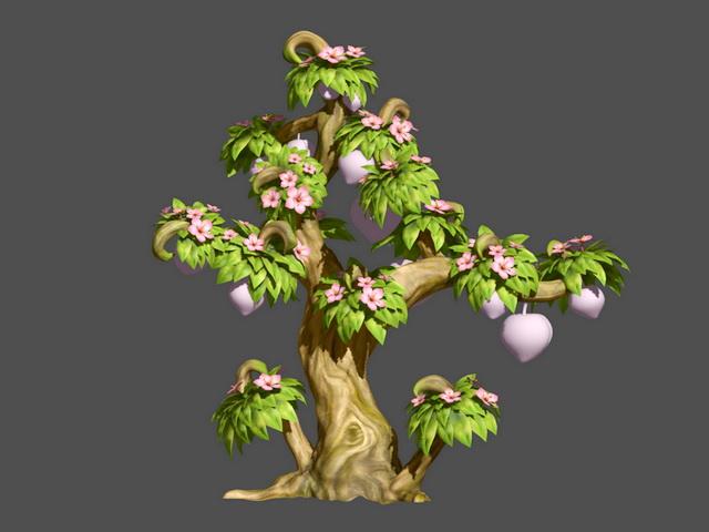 Peach Tree Cartoon 3d rendering