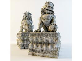 Chinese Stone Lion Statue 3d preview