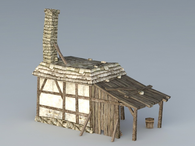 Old Blacksmith Shop 3d rendering