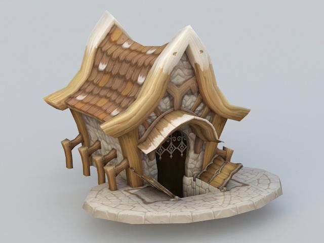 Cartoon Village House 3d rendering