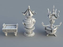 Antique Chinese Incense Burners 3d preview