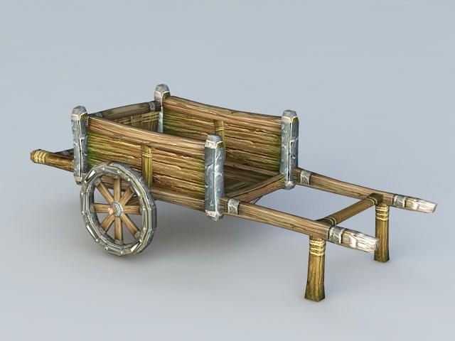Old Wooden Cart 3d rendering