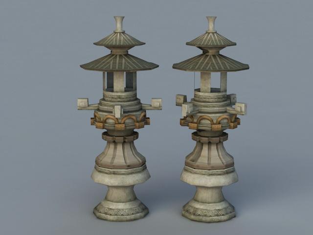 Japanese Garden Stone Lantern 3d rendering