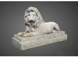 Stone Lion Garden Statue 3d preview