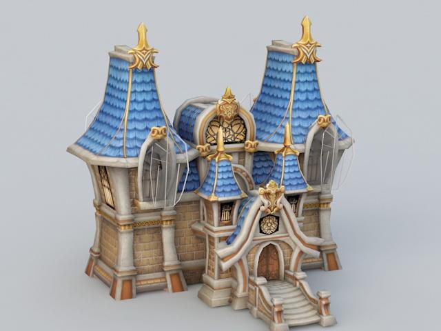Medieval Manor House Cartoon 3d rendering