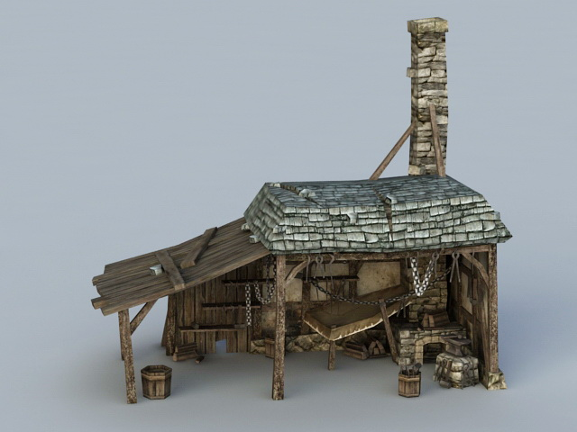 Medieval Blacksmith Building 3d rendering
