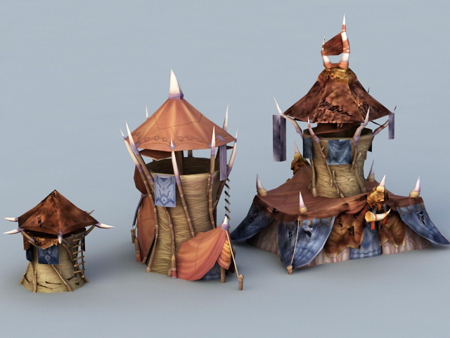 Orc Buildings 3d rendering