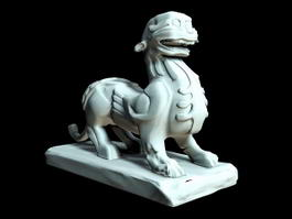 Chinese Qilin Stone Statue 3d preview