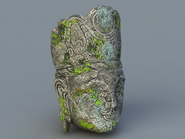 Ancient Buddha Head 3d rendering