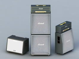 Amplifier and Speakers 3d model preview