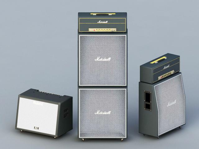 Amplifier and Speakers 3d rendering