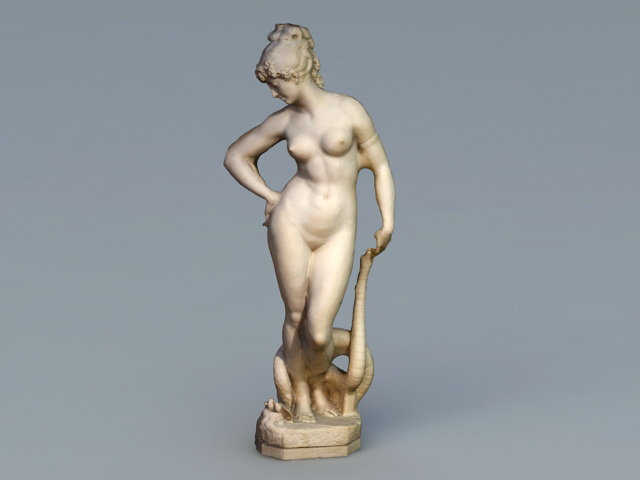 Ancient Greek Woman Statue 3d rendering
