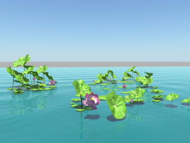 Lotus Flower Pond 3d rendering