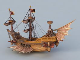 Steampunk Skyship 3d model preview