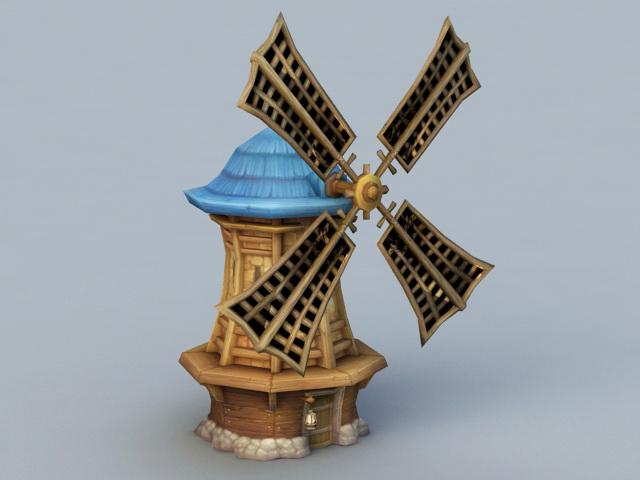 Farm Windmill Cartoon 3d rendering