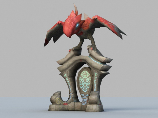 Cartoon Bird Sculpture 3d rendering