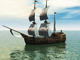 Galleon Ship 3d model preview