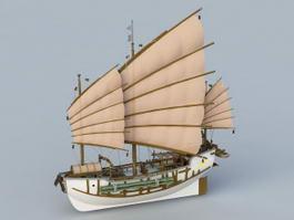 Junk ship 3d model preview