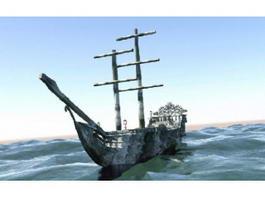 Black Pearl Pirate Ship 3d model preview