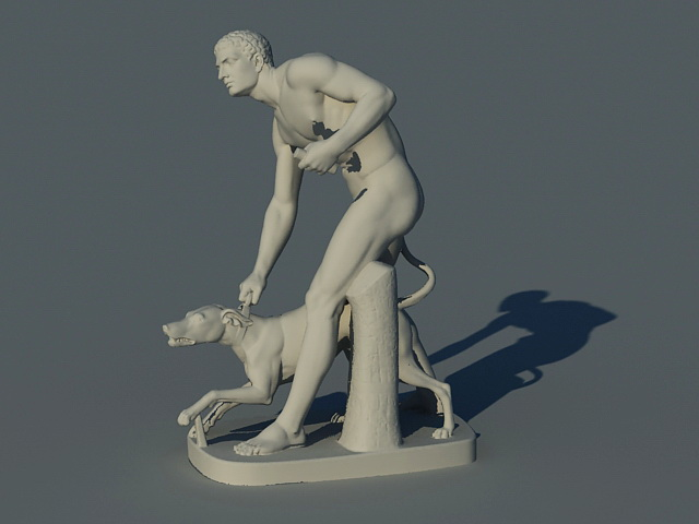 Man with Dog Statue 3d rendering